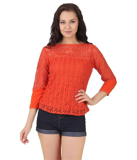Lili Top Blouse buy lili blank orange poly georgette tops at best prices in india snapdeal