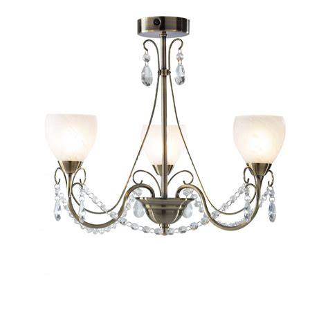 Chandelier For Low Ceiling Antique Brass Chandelier For Low Ceilings With Glass Bead Droplets