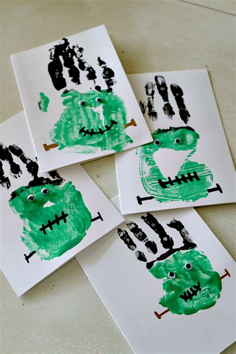 diy handprint crafts frankenstein handprints craft easy