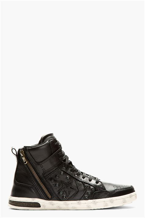 black high top leather sneakers converse black leather hardware weapon high top