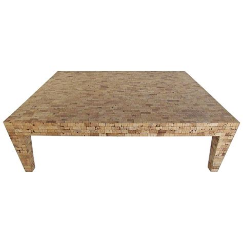 Coffee Tables Cork Large Mid Century Style Tessellated Cork Coffee Table For Sale At 1stdibs