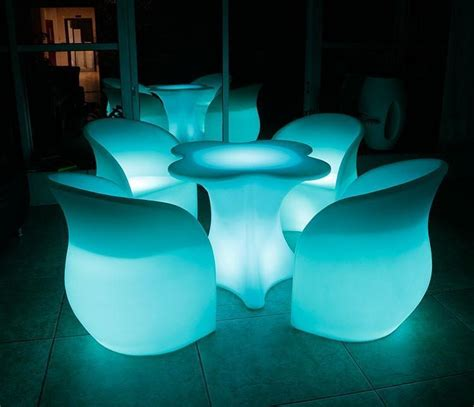 chargeable remote control lighted cordless led bar table chair set plastic hotel bar cafe