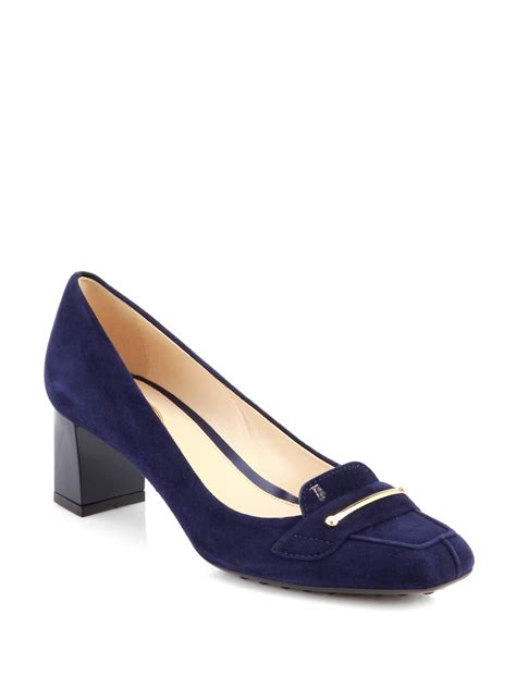 s loafer pumps tod s suede loafer pumps in blue blue lyst