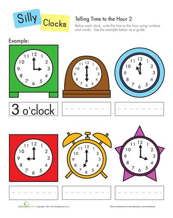 clock worksheets by the hour telling time to the hour telling time worksheets and math