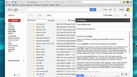 Using Sugarcrm Email Template In Gmail Youtube Demo Email Template