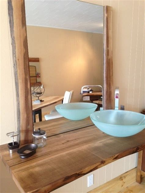 Wooden Bathroom Countertops by Live Edge Reclaimed Wood Countertop Bathroom Vanity Powder Room Vanity Tops And