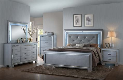 dresser and headboard set lillian 5 piece bedroom led backlighting accents on