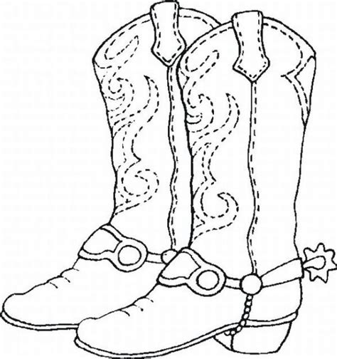 Coloring Sheet Cowboy Boots Fabric Patterns Drawing Of A Cowboy Boot Printable