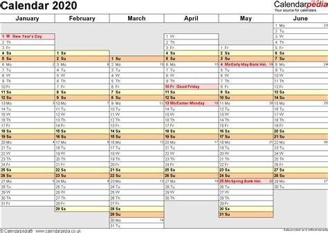 2020 Year Calendar Calendar 2020 Uk 16 Free Printable Word Templates