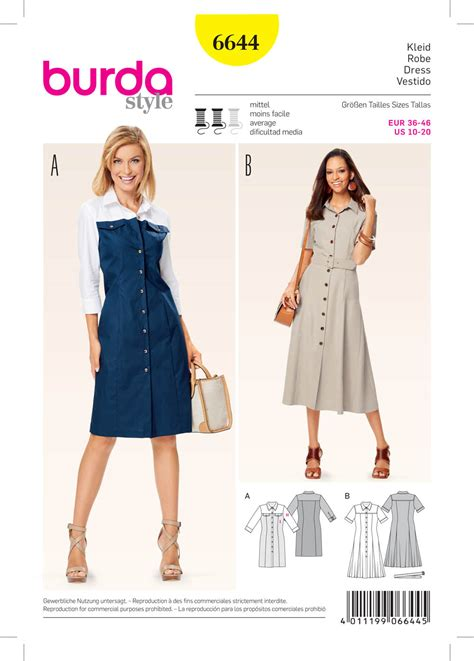 pattern sewing burda burda 6644 misses dress