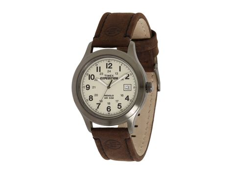 Expedition Time E6396 Black Leather Brown For Original timex 174 expedition 174 size brown leather field in silver for lyst