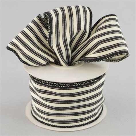 Bw Ribbon 2 5 quot ticking stripe ribbon black 10 yards ra12226x craftoutlet