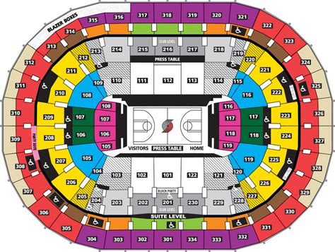 moda center seating map blazer seating chart moda center portland tickets