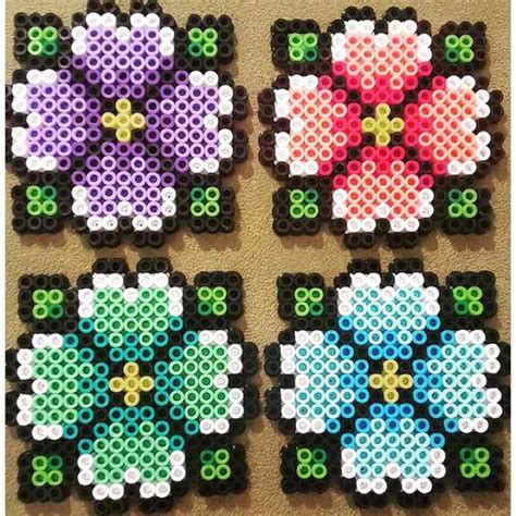 hibiscus perler bead coasters set of 4 mercari anyone