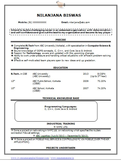 standard resume format for computer science engineers 10000 cv and resume sles with free