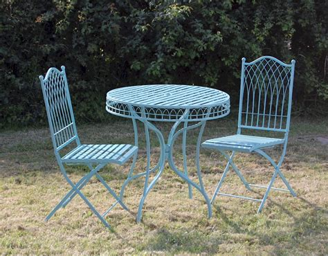 Shabby Chic Bistro Table And Chairs Shabby Chic Bistro Set Blue Garden Furniture Set Metal Garden Table And Chairs Ebay
