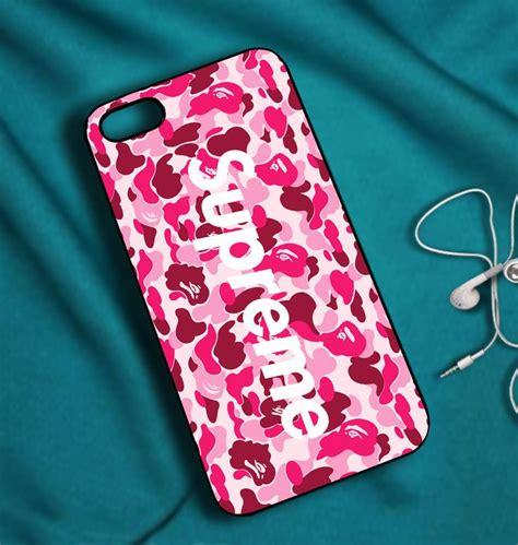 supreme bape camo pink case  iphone
