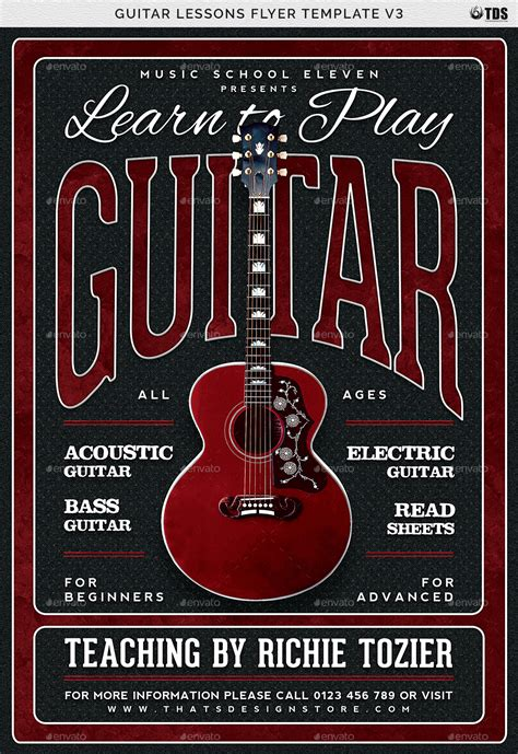 Guitar Lessons Flyer Template V3 By Lou606 Graphicriver Guitar Lesson Flyer Template
