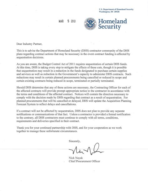 update for sequestration from dhs cpo gts coalition