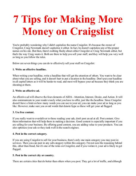 7 Tips On Buying Stuff From On Craigslist by 7 Tips For More Money On Craigslist