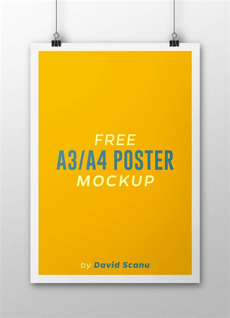 A3 A4 Flyer Poster Mock Up Psd Template Free Psd Vector Icons Poster Template Psd