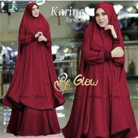 Gamis Pakaian Syari Latifa Syari Maroon Murah setelan baju gamis syari jilbab bergo panjang model terbaru