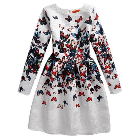 2017 new fashion sleeve dress butterfly print