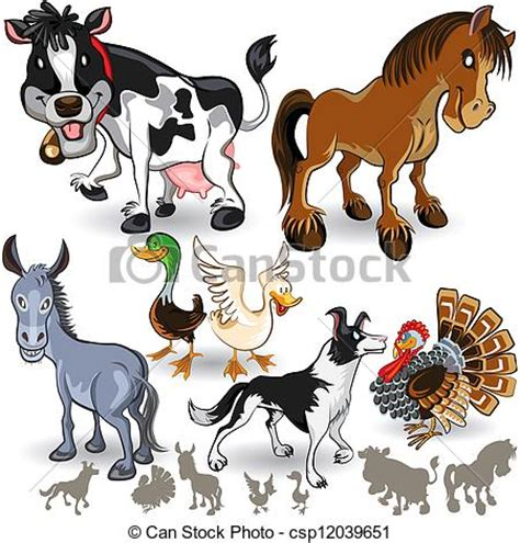 Rhino Artwork by Clipart Vector Of Farm Animals Collection Set 02 An
