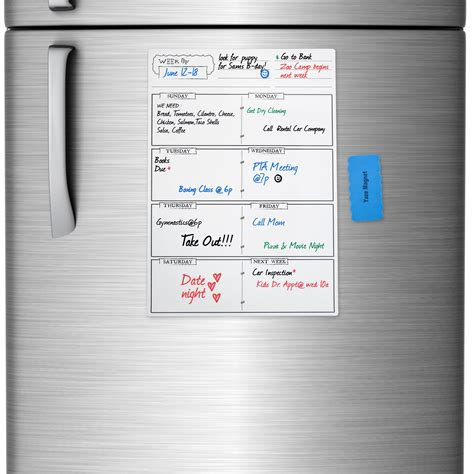 Calendar Erase Board Planovations Color Print Magnetic Monthly Erase
