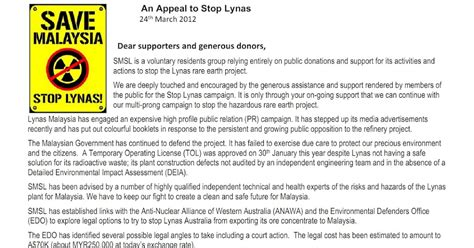 Appeal Letter Format Malaysia Save Malaysia Stop Lynas An Appeal To Stop Lynas In Western Australia In