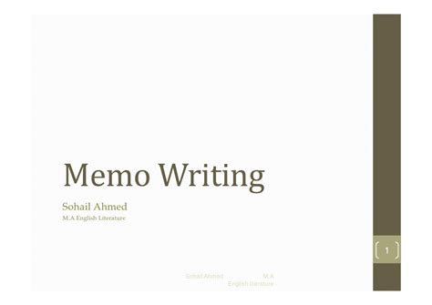 Memo Writing Ppt Memo Writing By Sohail Ahmed