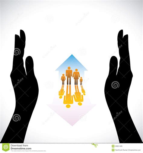 Graphic Of Secure Family People Icons,hand Silhoue Stock