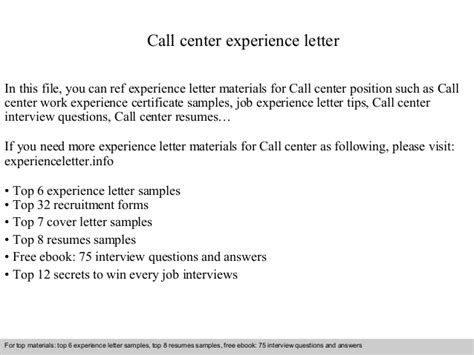 Call center experience letter