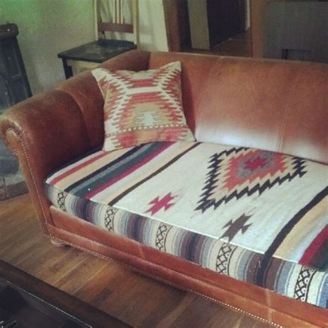 Mexican Blanket Upholstery by Refurbished Cushion From A Mexican Blanket Follow