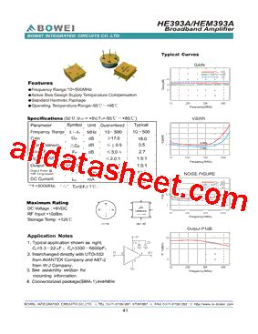 bowei integrated circuits co ltd he393a datasheet pdf bowei integrated circuits co ltd