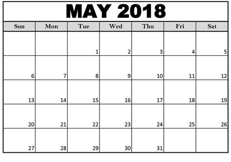 Printable May 2018 Calendar Editable Editable Schedule Template