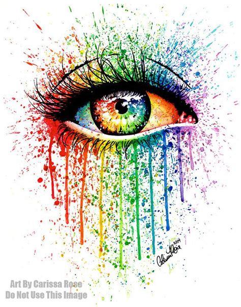 signed art print rainbow eye painting pop art colorful