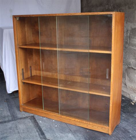 vintage retro glass front solid oak bookcase display