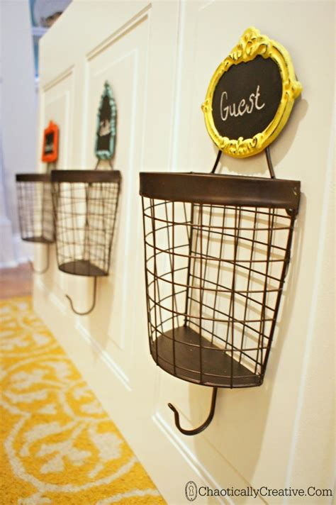how to hang a basket wall 15 min decor day 10 making diy wire basket coat rack chaotically creative
