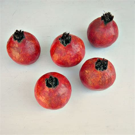 Handmade Fruits - paper mache pomegranate fruit set of five made to order