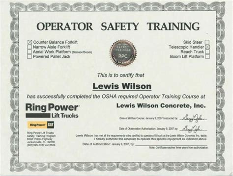 forklift certification card template 7 best images of forklift certification certificate sle