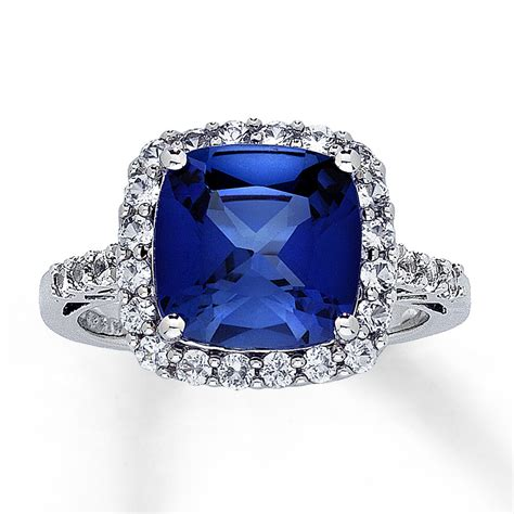 lab created sapphire ring cushion cut 10k white gold