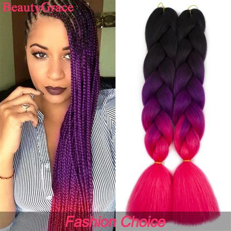 5 packs ombre braiding hair extensions three