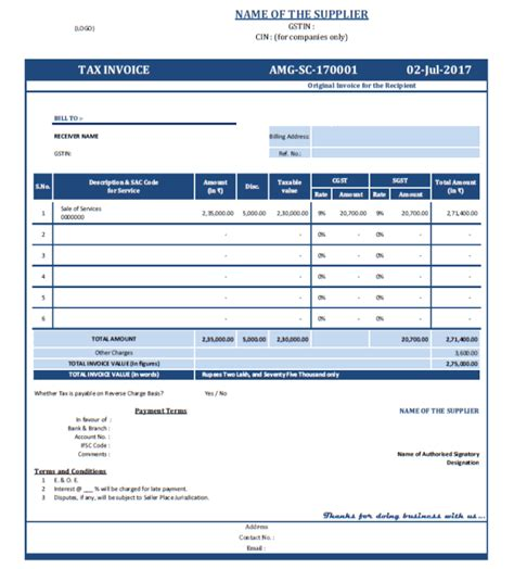 invoice format under service tax rules formats of tax invoice and bill of supply as per gst act