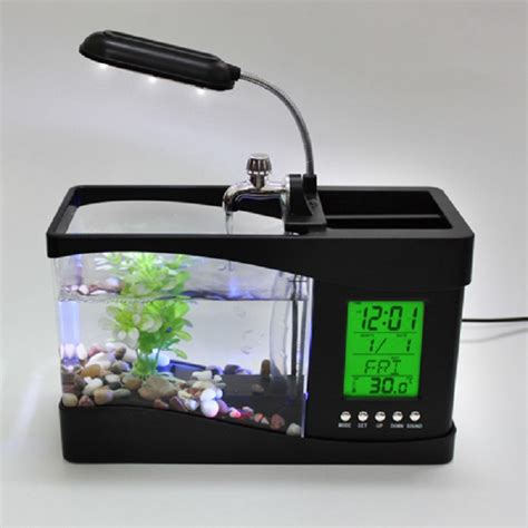 Aquarium Usb portable usb desktop fish aquarium desk organizer home