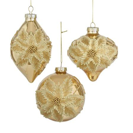 walmart ornaments pack club pack of 12 gold glass poinsettia ornaments 4 5 quot walmart