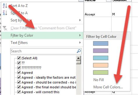 filter by color in excel not showing all colors