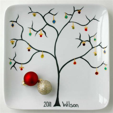 personalized family name christmas tree ornament plate by