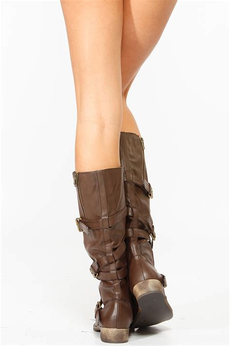 Bamboo Brown Leather Boots bamboo brown strappy buckle up faux leather boots