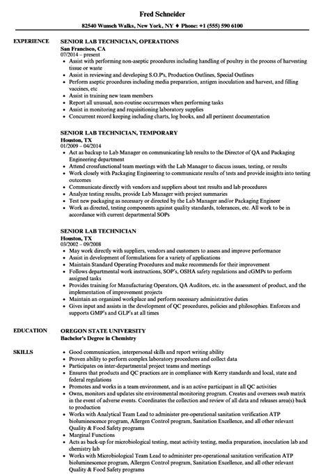 senior lab technician resume sles velvet